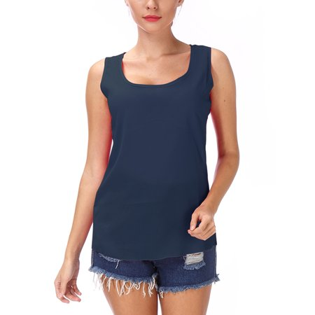 LELINTA Women's Sleeveless Tank Top Undershirts Chiffon Breathable Scoop Neck Shirttail Tank, Red/ Blue/ Purple/ Black/ Green, M-3XL