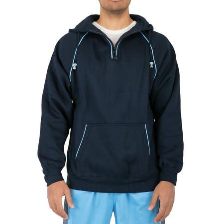 Vibes Mens Raglan Sleeve Pull Over Navy Fleece Hoody Sweatshirt Half Zip Piping Trim