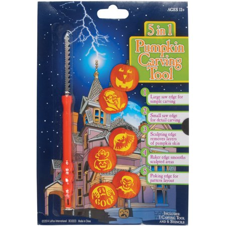 Loftus 5-in-1 Multi Purpose Halloween Pumpkin Carving Tool Set w 6 Stencils