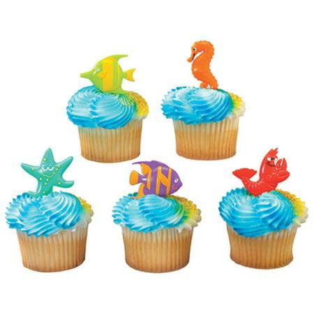 Sealife Friends - Shrimp, Fish, Starfish, Seahorse Cupcake Picks - 24 Picks](Disney Cupcake Picks)