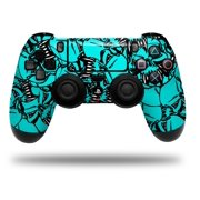 Skin Wrap for Sony PS4 Dualshock Controller Scattered Skulls Neon Teal (CONTROLLER NOT INCLUDED)