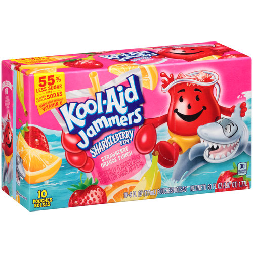 Kool-Aid Jammers Sharkleberry Fin Flavored Drink, 6 fl oz, 10 count