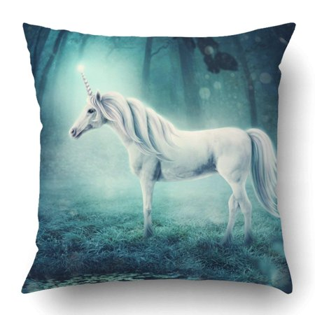 BPBOP White Unicorn In A Dark Forest Pillowcase Pillow Cushion Cover 18x18 inch - Unicorn In Forest