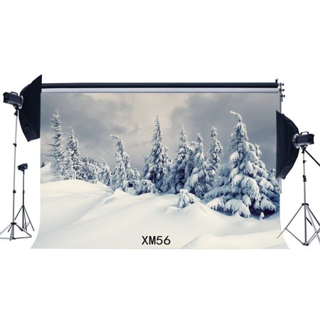 Christmas Scene Backdrop (GreenDecor Polyster 7x5ft Photography Backdrop Rural Christmas Tree Heavy Snow Winter Scene Newborn Kids Merry Christmas Portraits Background Photo Studio)