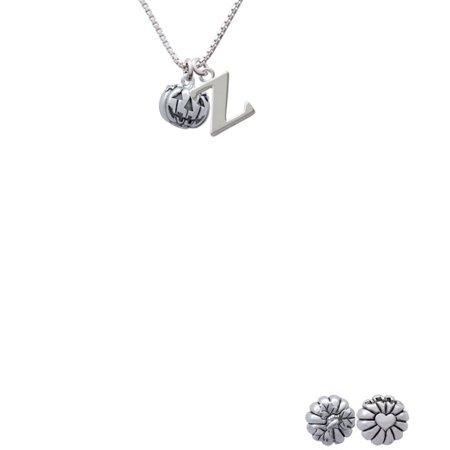 Silvertone Small Jack Olantern With Stem Capital Initial Z Necklace