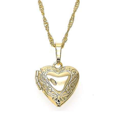 Beautifully Engraved Cut Heart Locket Gold Tone For Women By Folks Jewelry