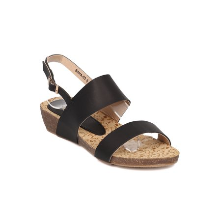 Slingback Cork Wedges - Women Low Wedge Sandal - Open Toe Slingback Sandal - Walking Comfortable Casual Everyday Sandal - HA50 By Alrisco