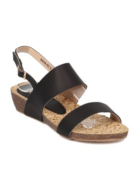 a0a641194 Product Image Women Low Wedge Sandal - Open Toe Slingback Sandal - Walking  Comfortable Casual Everyday Sandal -