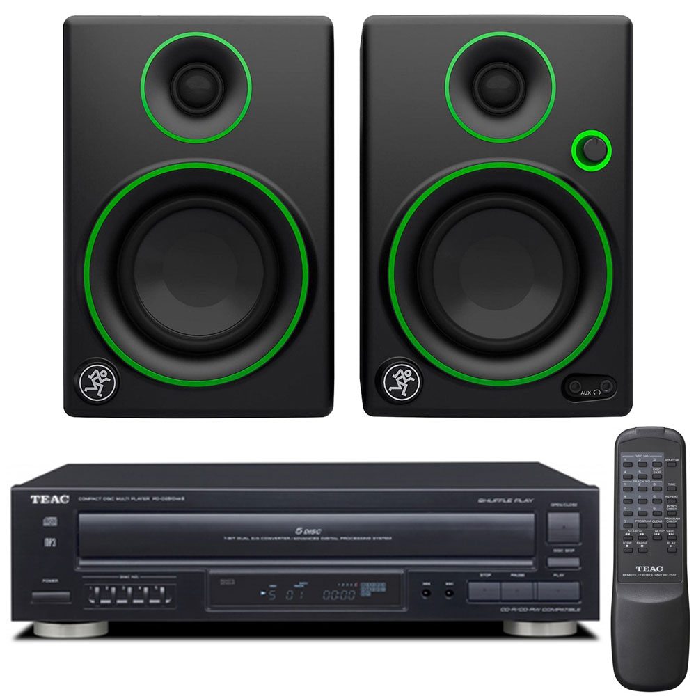 "Teac PD-D2610MKII 5-Disc Carousel CD Player with Remote plus Mackie CR Series CR3 - 3"" Creative Reference Multimedia Monitors (Pair)"