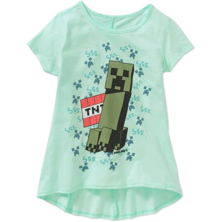 Minecraft Girls' Creeper Pal Short-Sleeve Crew Neck Hi-Lo Graphic Top
