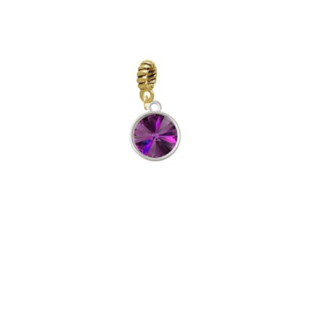 12mm Crystal Rivoli - Purple - Goldtone Charm Bead