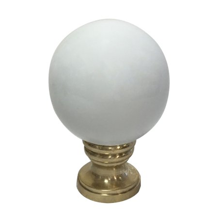 Royal Designs Ceramic Sphere White Lamp Finial with Polished Brass Base