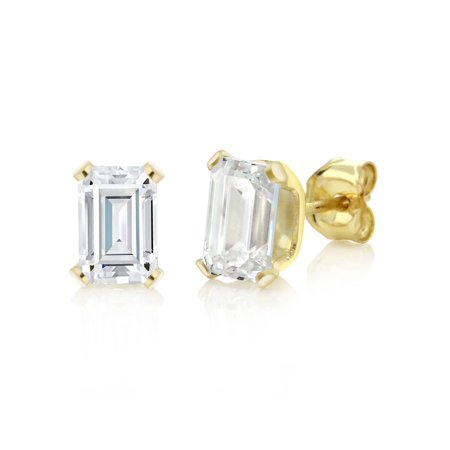 Emerald Cut Glass - 2.50 Ct 925 Sterling Silver Yellow Gold Plated Emerald Cut White CZ Earrings
