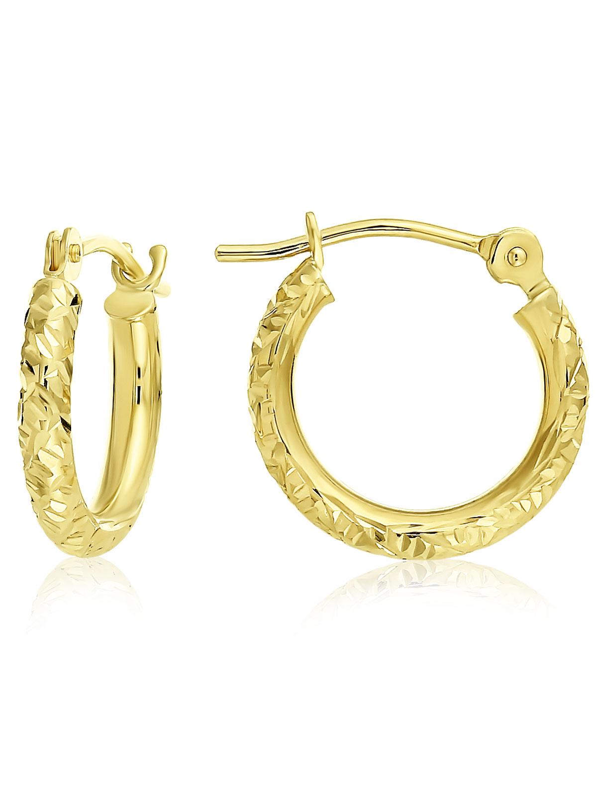 14k Yellow Gold Hand Engraved Round Hoop Earrings for Children - 0.5 Inch Diameter