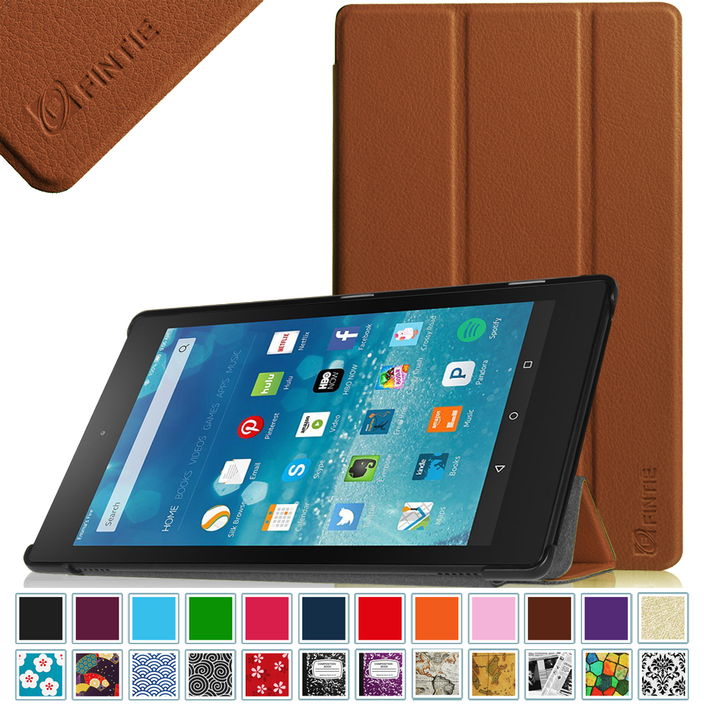 Fintie SlimShell case for Amazon Fire HD 8 (2015 5th Gen only) - Lightweight Standing Cover W/ Auto Wake / Sleep, Brown
