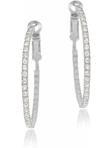 CZ 35mm Sterling Silver Inside-Out Hoop Earrings