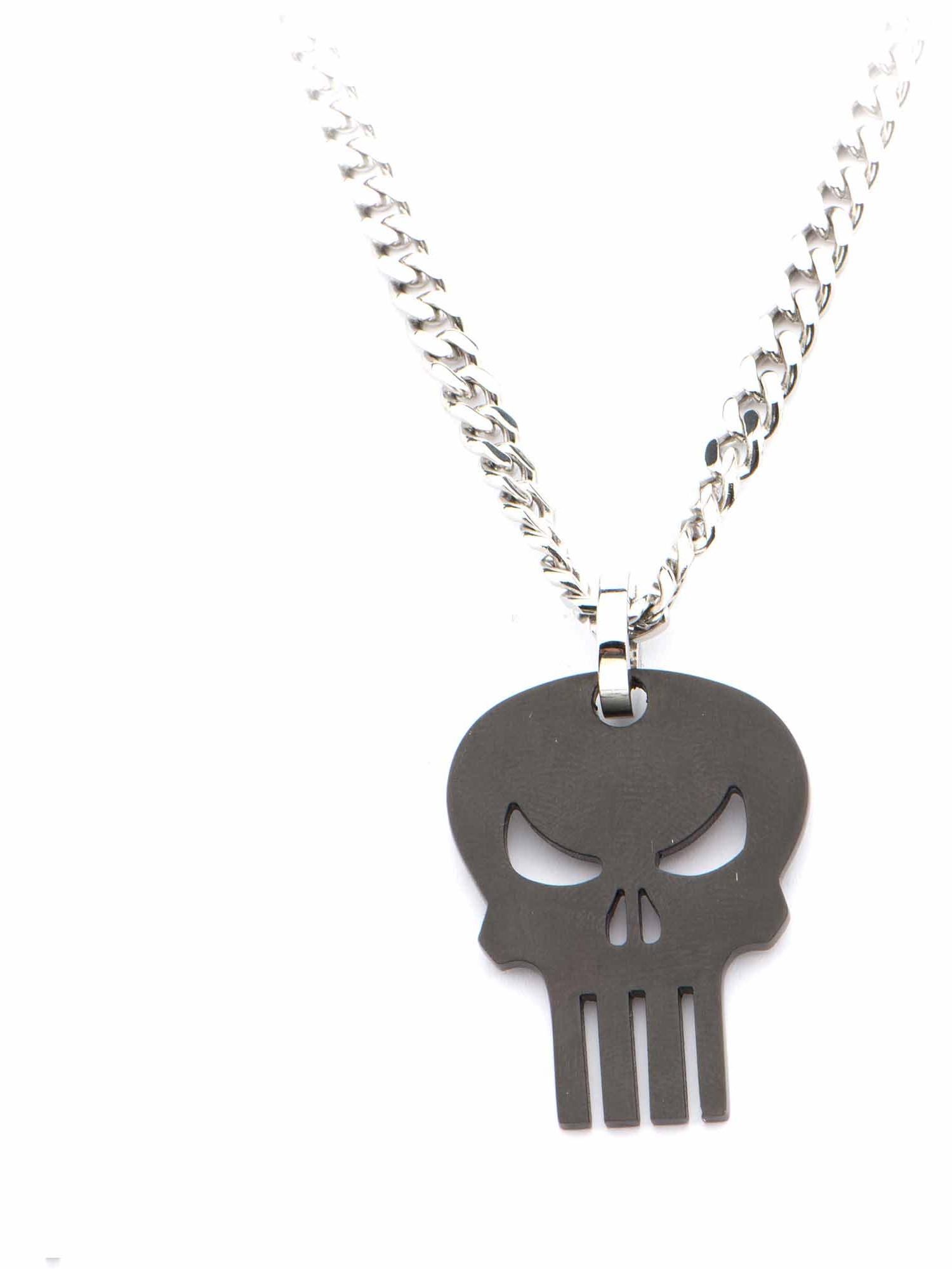 Marvel Punisher Black Skull Steel Pendant With Chain