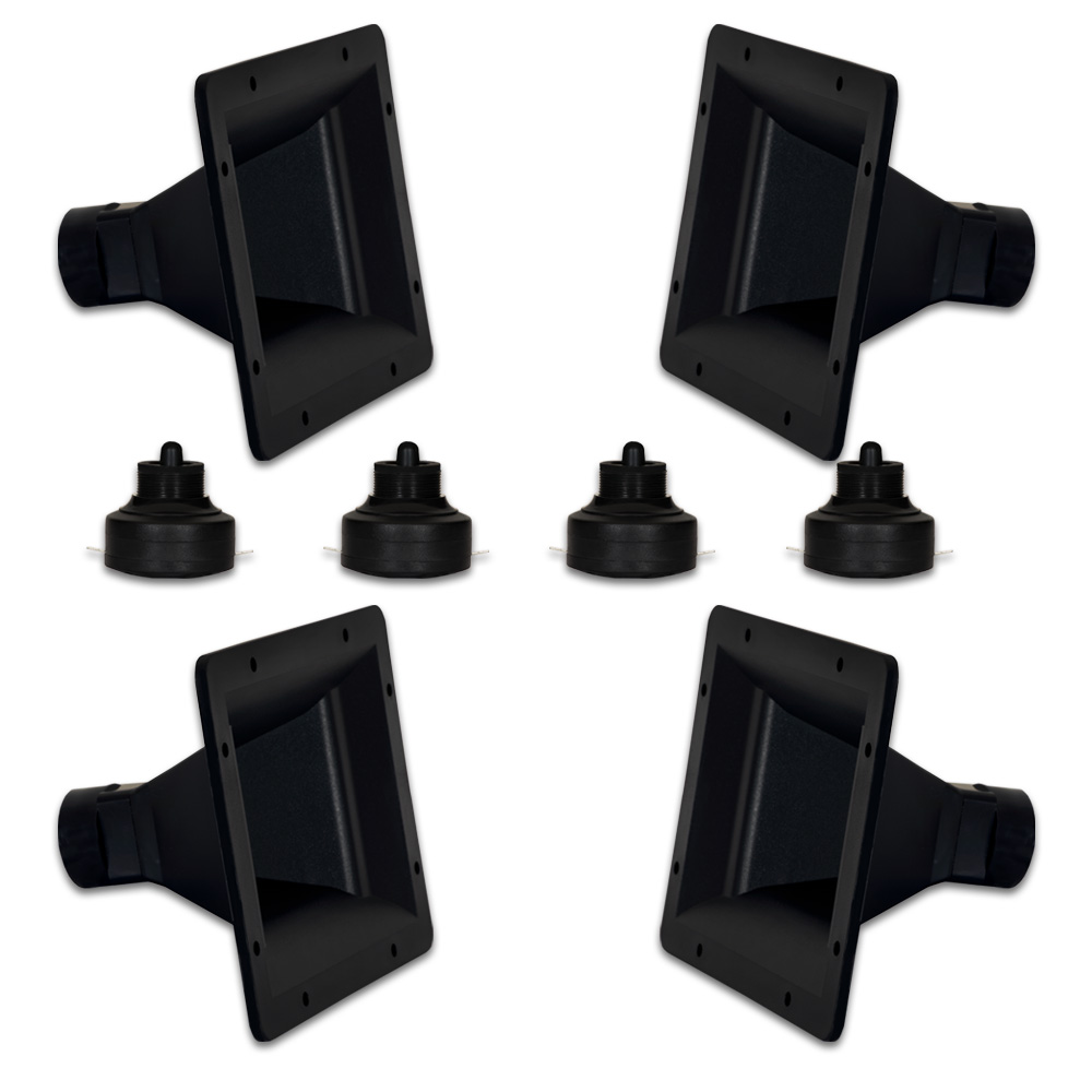 4 Goldwood Sound GT-300PB ABS Directivity Horns and 4 GT-400CD Tweeter Drivers Replacements for KSN1142A