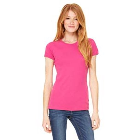 Bella + Canvas Ladies' Baby Rib Short-Sleeve T-Shirt (Pink Junior Baby Doll T-shirts)