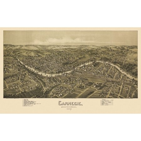 Old Map Of Carnegie Pennsylvania 1897 Allegheny County Canvas Art     36 X 54