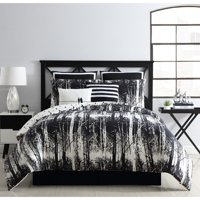6-Piece Reversible Twin XL Dorm Comforter and Sham Bedding Set with Throw Pillows Forest Trees Birds, Black and White