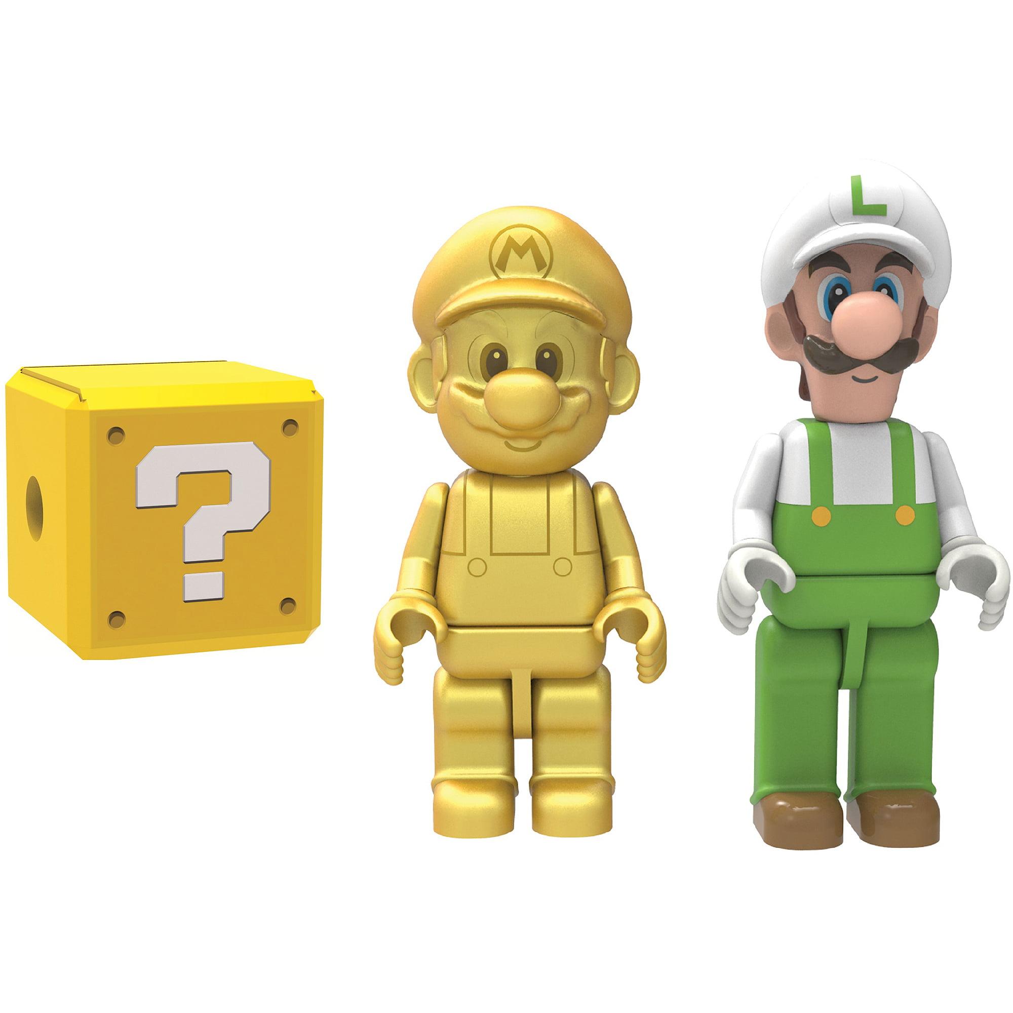 K'NEX Super Mario Golden Mario, Fire Luigi and Mystery Figure, 3-Pack