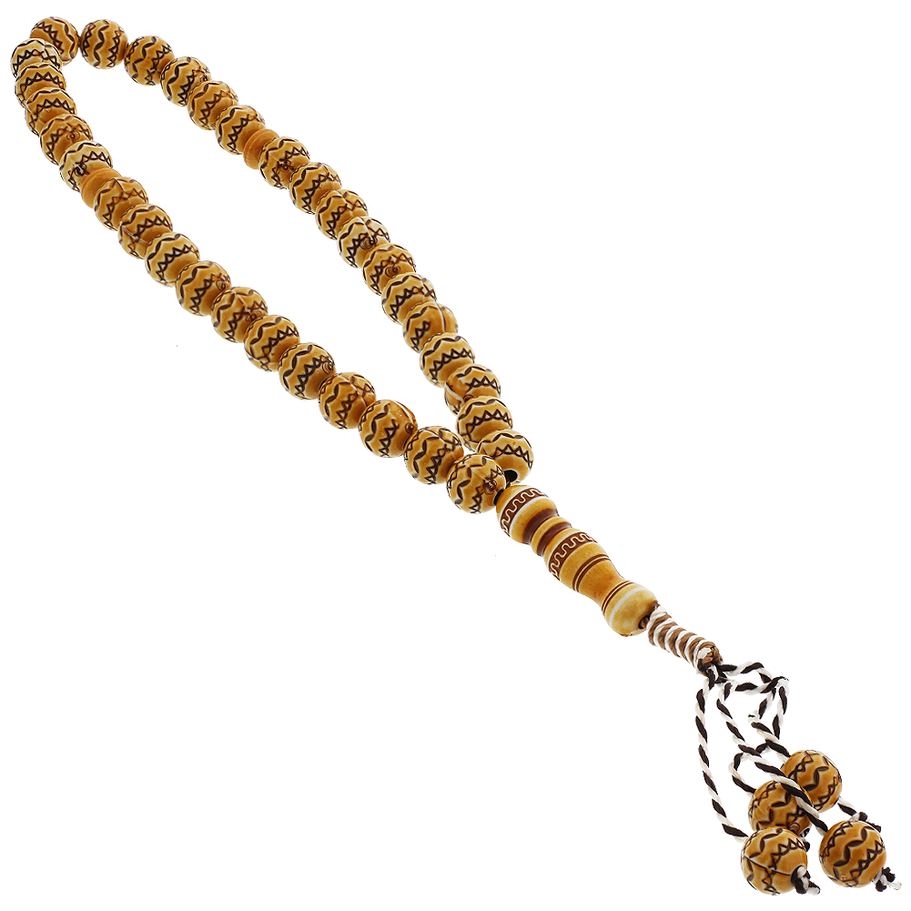 33 Count Orange Islamic Rosary Prayer Bead Tasbih With Tribal Design