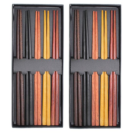 Set of 2 Boxes(10 Pairs)- Multicolored Reusable Japanese Style Sushi Chopsticks Natural Wooden Unique Family Pack Gift Set
