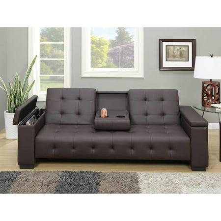 Espresso Faux Leather Adjule Futon Sofa Bed Center Console