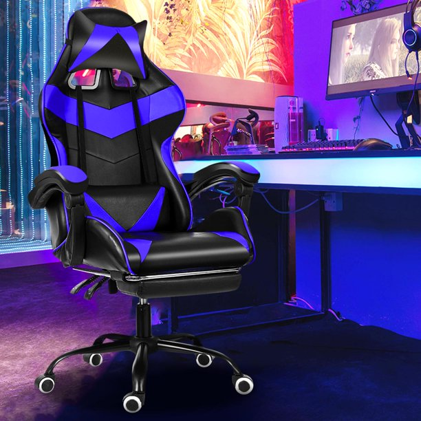 Racing Style Gaming Chair High-Back PU Leather Executive Office Chair Swivel Rolling Ergonomic Office Chair E-Sports Chair with Footrest, Headrest and Lumbar Support