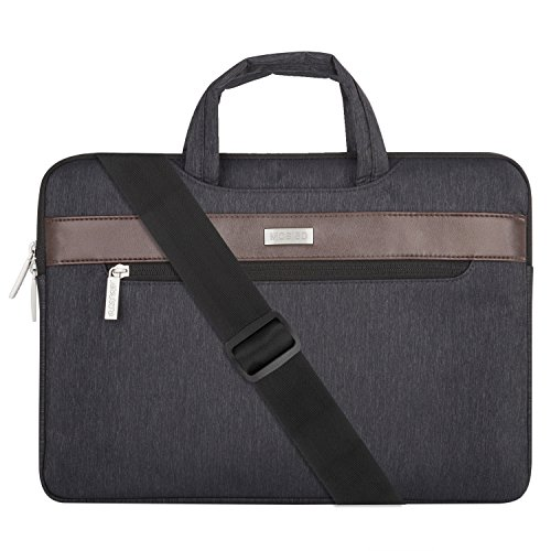 Mosiso Laptop Shoulder Bag Briefcase, Polyester Sleeve Case Cover Handbag with Horizontal PU Strip for 13-13.3 Inch MacBook Notebook Computer, Black