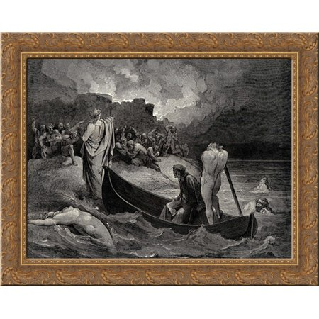 The Inferno, Canto 8, lines 110'111: I could not hear what terms he offer╞d them, But they conferr╞d not long 23x20 Gold Ornate Wood Framed Canvas Art by Dore,