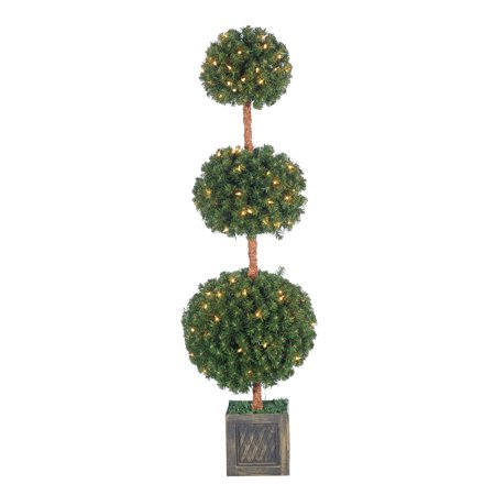 Dyna Triple Trees - Sterling 5Ft. Pre-Lit Potted Triple Ball Tree with Round Tips and 150 Clear Lights