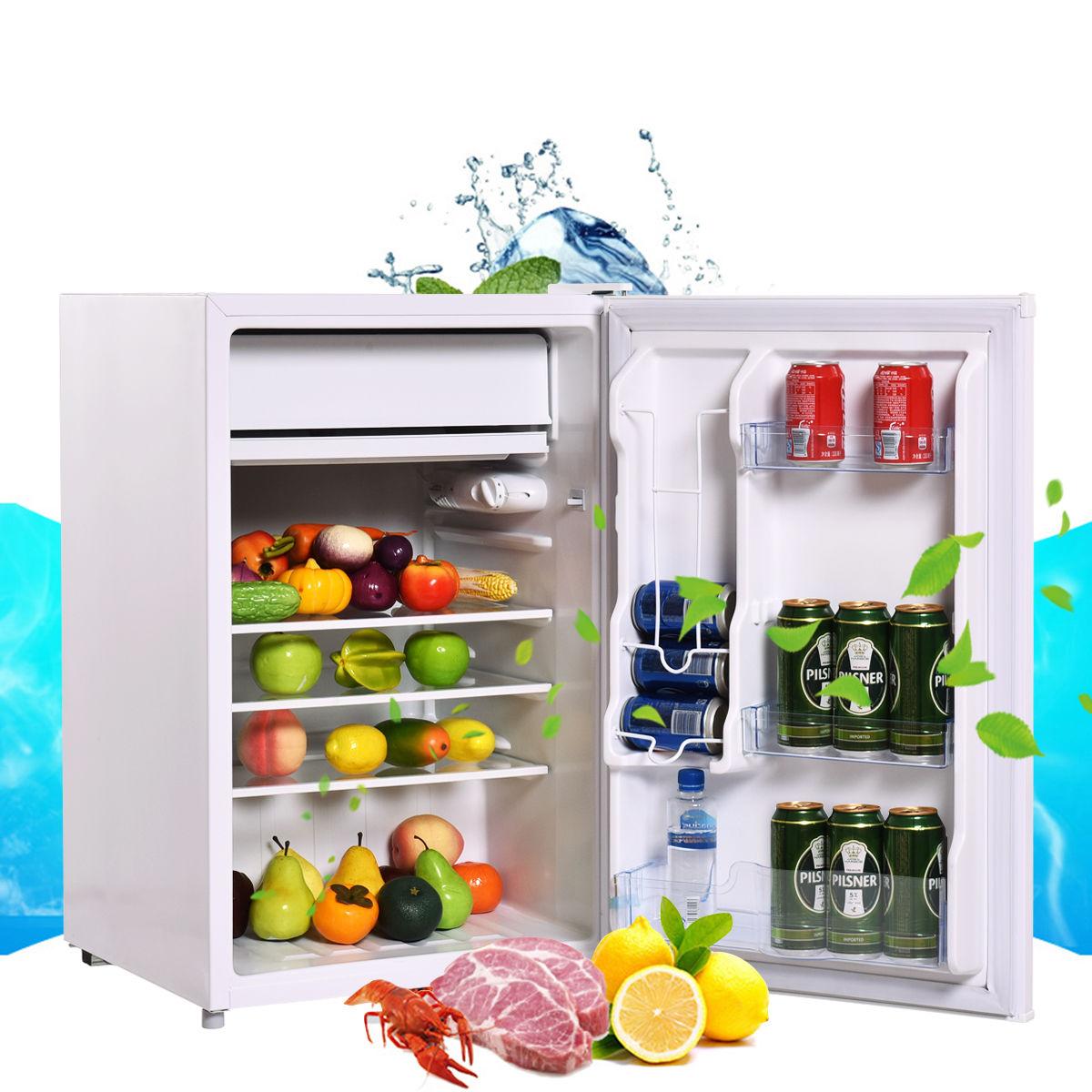 Costway 4.3 cu ft. Refrigerator Freezer Cooler Fridge Compact Mini Door
