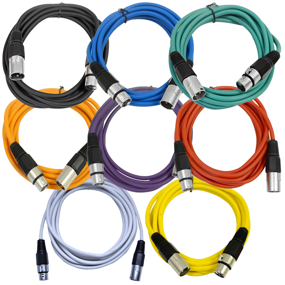 Seismic Audio  - 8 Pack of Colored 10 Foot XLR Patch Cables - 10' Mic Patch Cords - SAXLX-10-Multi