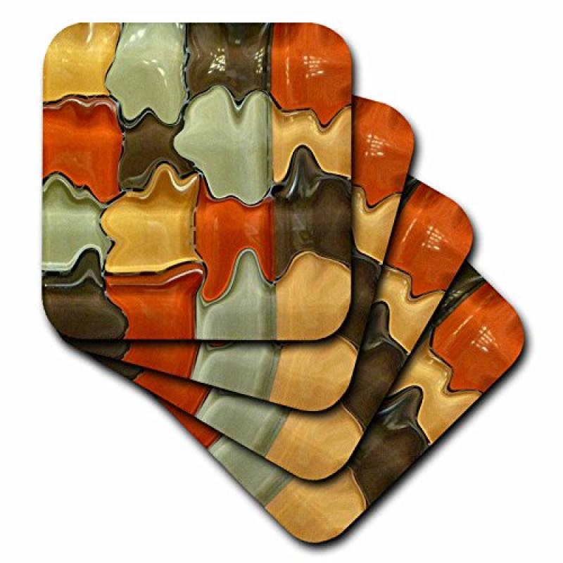 3dRose Brown Orange Yellow Green Glass Abstract, Ceramic Tile Coasters, set of 4