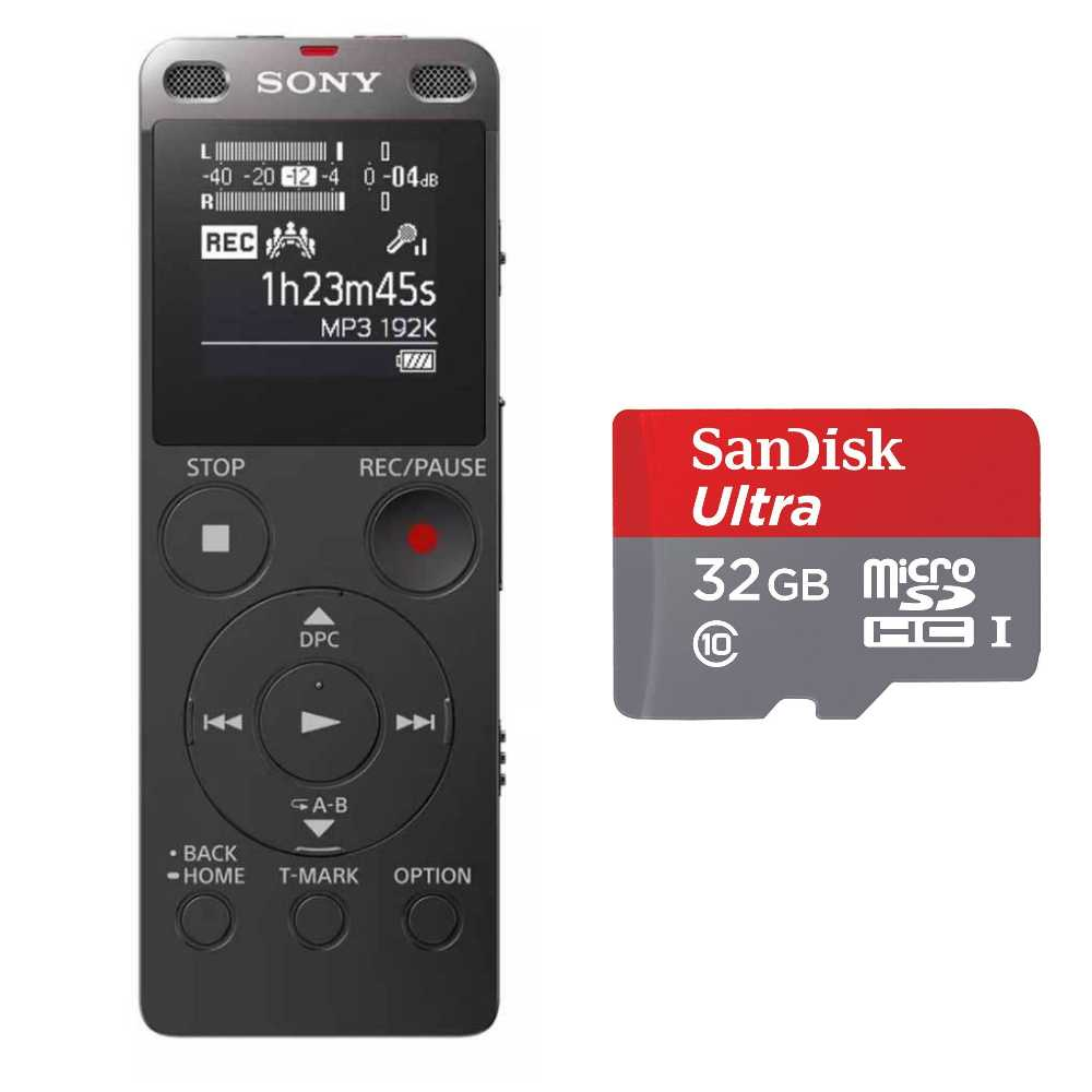 Sony ICD-UX560 Stereo Digital Voice Recorder w/ 32GB microSD Card
