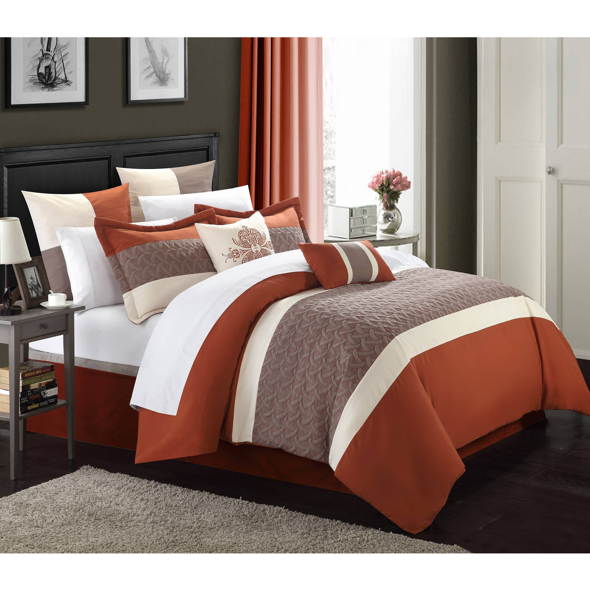 Chic Home 8 Piece Luana Quilted Embroidered Comforter Set