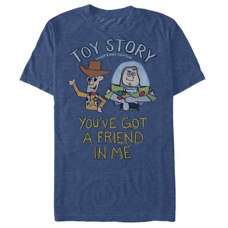 Toy Story Men's Woody and Buzz You've Got a Friend T-Shirt (Mens Toy Story Woody Shirt)
