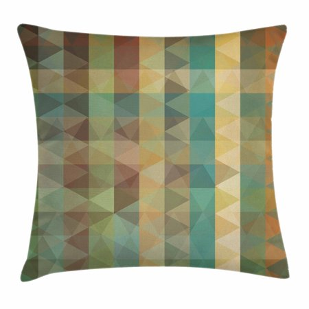 Geometrical Form (Sage Throw Pillow Cushion Cover, Colorful Vertical Lines with Triangles Abstract Geometrical Mosaic Form Retro Style, Decorative Square Accent Pillow Case, 20 X 20 Inches, Multicolor, by Ambesonne )