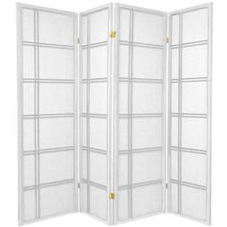 4 Panel Screen China - Legacy Decor 4 Panel Double Cross Shoji Screen Room Divider, White Color