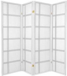 legacy decor 4 panel double cross shoji screen room divider white color