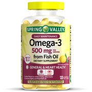 Spring Valley Natural Lemon Flavor Omega-3 Fish Oil Dietary Supplement, 500 mg, 120 count