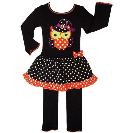 AnnLoren Baby Girls Knit Halloween Witchy Owl Dress Clothing Set