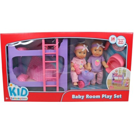 Kid Connection 16-Piece 8-inch Mini Baby Doll Room Play Set, Pink & Purple