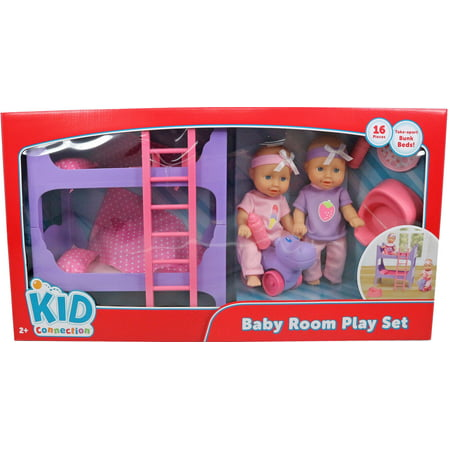 Kid connection 8-inch mini baby room playset
