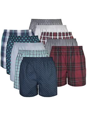 Gildan Mens Premium Cotton Blend Woven Boxers, 10-Pack