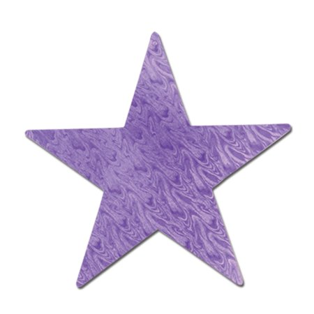 Club Pack of 24 Princess Themed Purple Embossed Foil Star Cutout Party Decorations 12