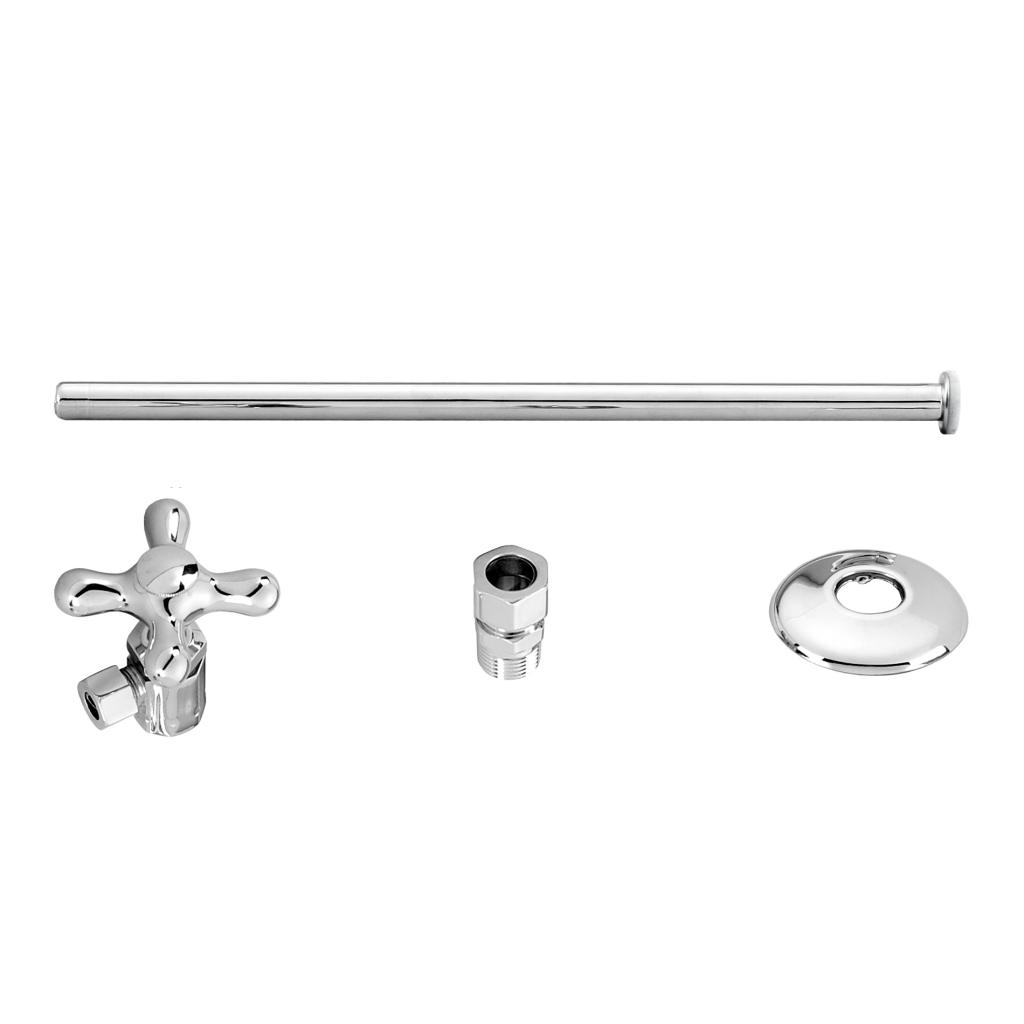 WestBrass D1812T Polished Chrome Toilet Kit with Stop and Flat Head Riser - Cross Handle