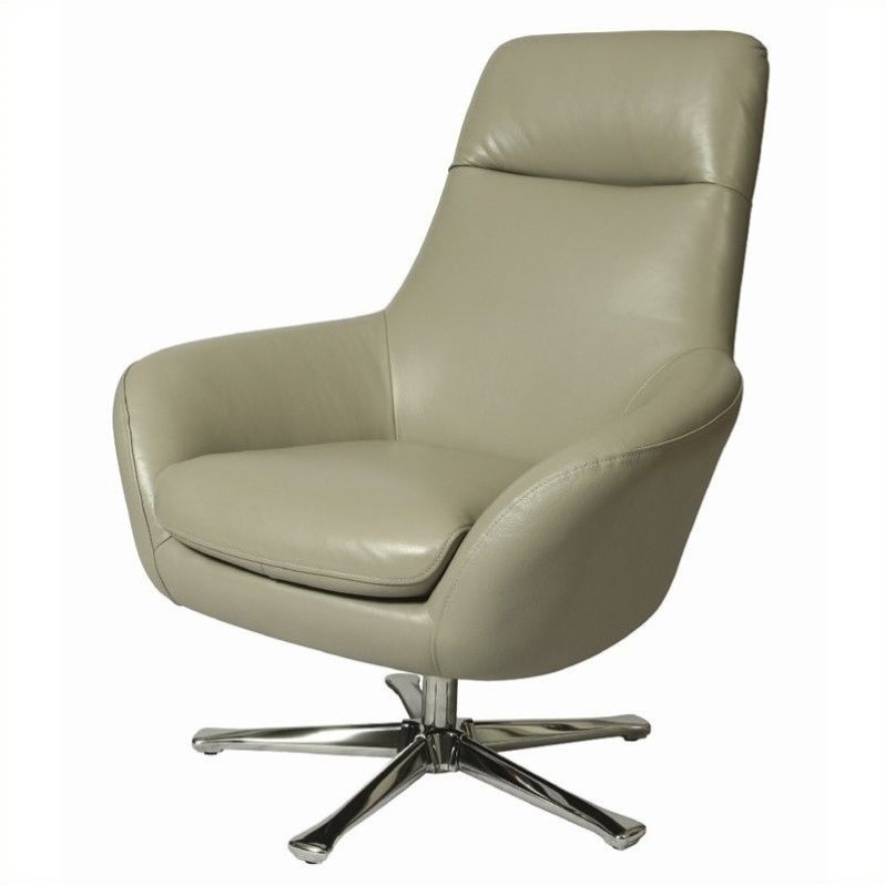 Pastel Furniture Ellejoyce Leather Club Chair in Gray by Pastel Furniture